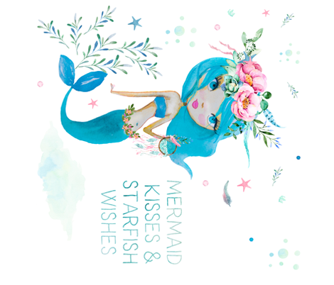 Mermaid Kisses & Starfish Wishes - Blue Mermaid 90 degrees fabric by shopcabin on Spoonflower - custom fabric