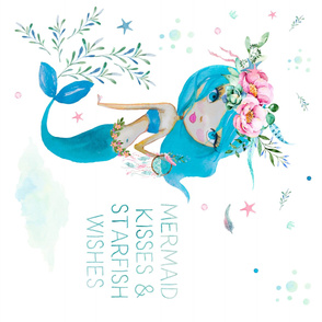 Mermaid Kisses & Starfish Wishes - Blue Mermaid 90 degrees