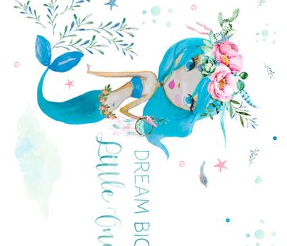 Dream Big Little One Mermaid Blue 90 degrees fabric by shopcabin on Spoonflower - custom fabric
