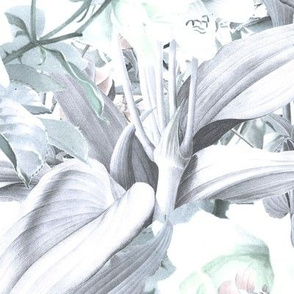 Tropical Roses in Mint and Dove Grey