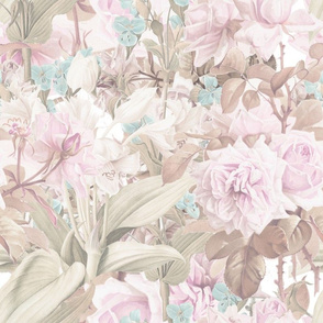 Tropical Roses in Pastel Sepia