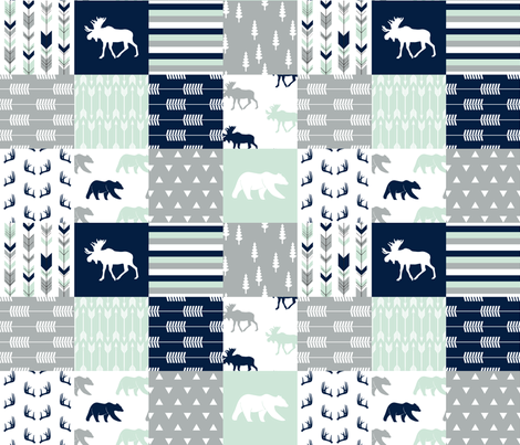 northern lights patchwork wholecloth || bear and moose fabric by littlearrowdesign on Spoonflower - custom fabric