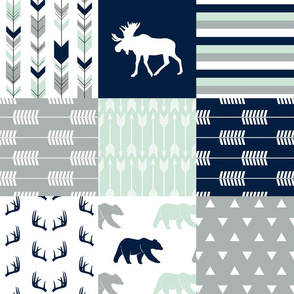 northern lights patchwork wholecloth || bear and moose