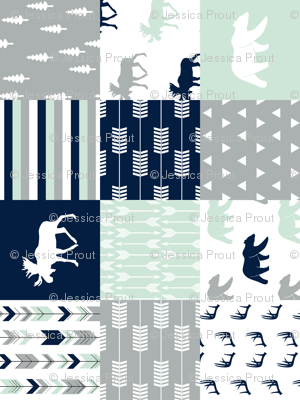 northern lights patchwork wholecloth (90)|| bear and moose