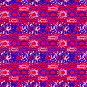 Blue Spiral on Red