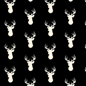Stag Head - black and cream - deer Buck  and antlers