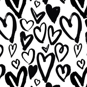 Painted Valentine Hearts in Black and White