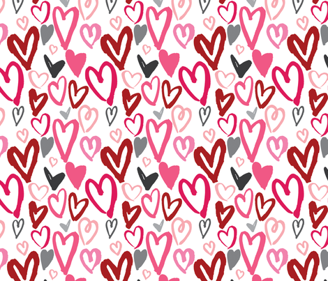 Painted Valentine Hearts in Red and Pink fabric by sugarfresh on Spoonflower - custom fabric