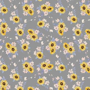 Ditsy Sunflowers Gray