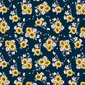 Ditsy Sunflowers Navy