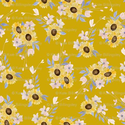 Ditsy Sunflowers Mustard