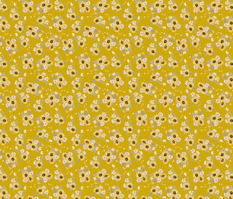 Ditsy Sunflowers Mustard fabric by katebillingsley on Spoonflower - custom fabric
