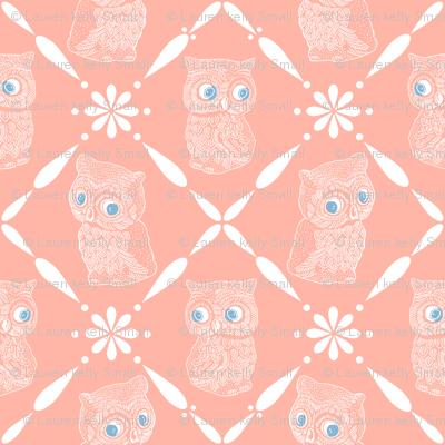 Folk Art Owls, Rich Peach