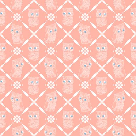 Folk Art Owls, Rich Peach fabric by thistleandfox on Spoonflower - custom fabric
