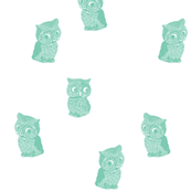 Folk Art Owls Aquamarine on White