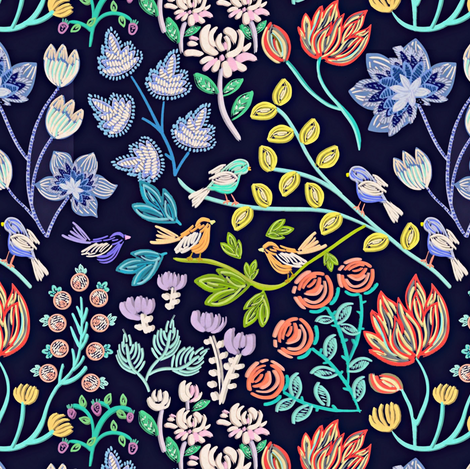 Stitched Garden fabric by susan_polston on Spoonflower - custom fabric
