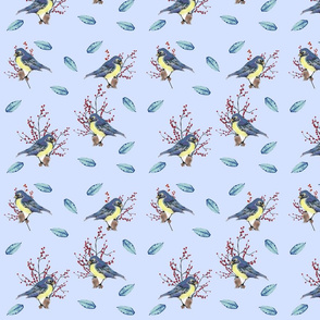 Little Birds and Berries (Blue)