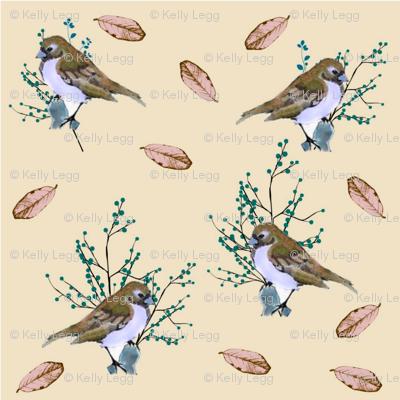 Little Birds and Berries (brown)