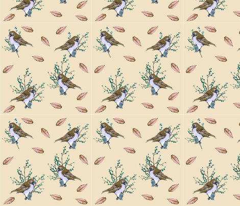 Little Birds and Berries (brown) fabric by floramoon on Spoonflower - custom fabric