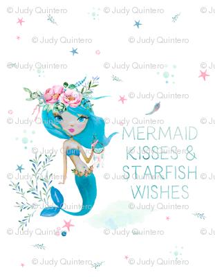 """2 Yards - 56""""x72"""" - Blue Mermaid - Mermaid Kisses"""
