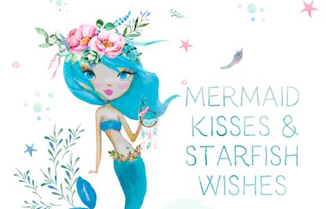 "2 Yards - 56""x72"" - Blue Mermaid - Mermaid Kisses fabric by shopcabin on Spoonflower - custom fabric"
