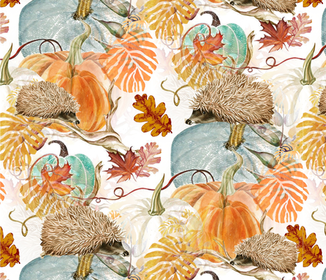 Little Hedgehog Fall Forage fabric by floramoon on Spoonflower - custom fabric