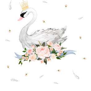 2 Yard Floral Swan with Free Falling Flowers