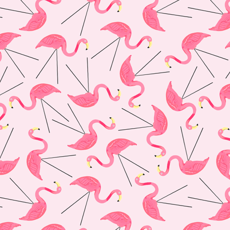 Lawn Flamingos - pink fabric by jesseesuem on Spoonflower - custom fabric