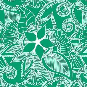 Yoga indian henna design green