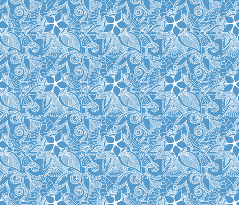 Yoga indian henna design light blue carolina blue fabric by khaus on Spoonflower - custom fabric