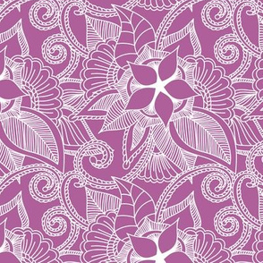 Yoga indian henna design purple pink