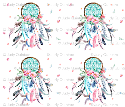 "4 to 1 Aqua & Pink Dream Catcher 42"" x 36"""