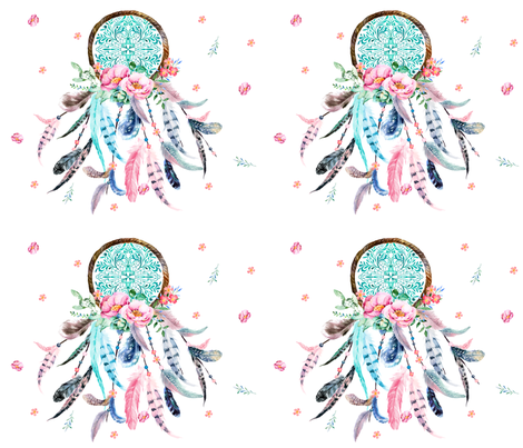 "4 to 1 Aqua & Pink Dream Catcher 42"" x 36"" fabric by shopcabin on Spoonflower - custom fabric"