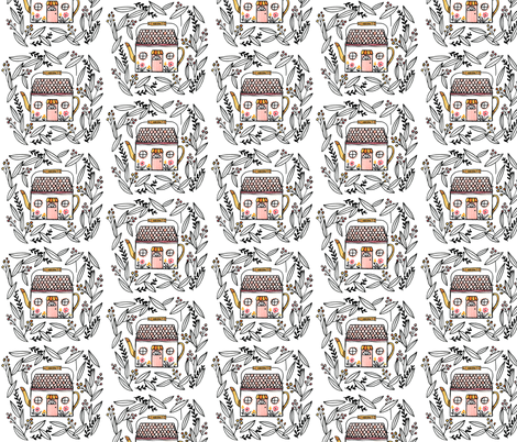 Tea Kettle House fabric by ellolovey on Spoonflower - custom fabric