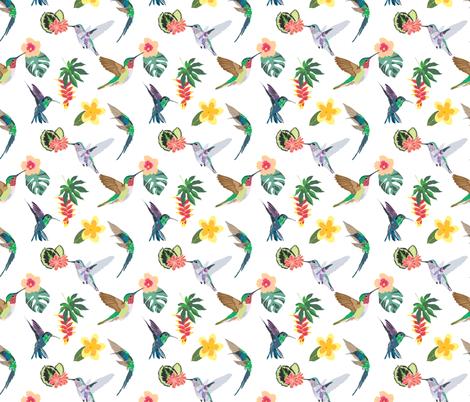 Feeding Hummingbirds fabric by vieiragirl on Spoonflower - custom fabric