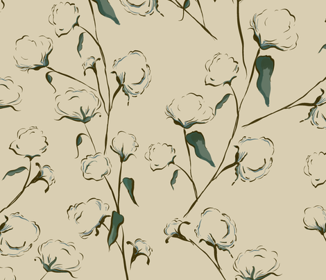 Cotton Bolls on Natural fabric by fat_bird_designs on Spoonflower - custom fabric