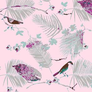Tropical Birds - pink