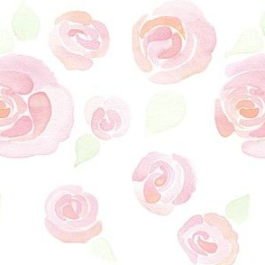 peach and pink watercolor roses with leaves