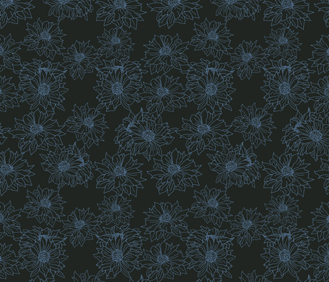 mums blue on black fabric by anne_renata on Spoonflower - custom fabric