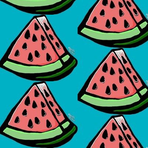 Watermelon on Blue Background