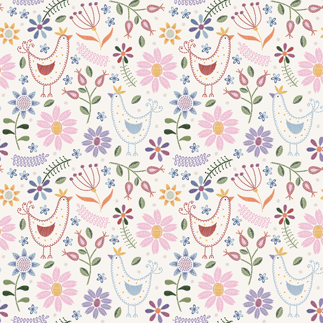 Floral Needlepoint in soft pastels fabric by suzytaylordesigns on Spoonflower - custom fabric