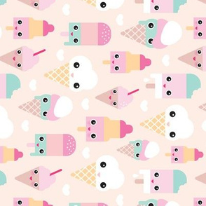 Colorful sweet summer ice cream popsicle sugar pastel kawaii illustration rotated