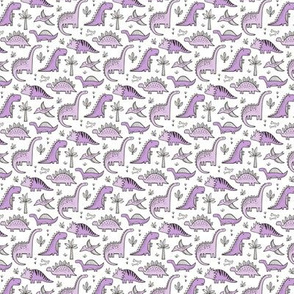 Dinosaurs in Purple on White Tiny Small