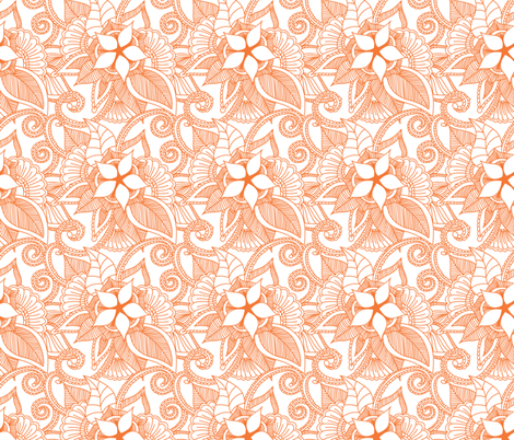 Yoga Indian Henna Design Orange Crush Fabric Khaus Spoonflower