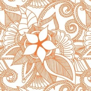 Yoga Indian henna design Orange Crush