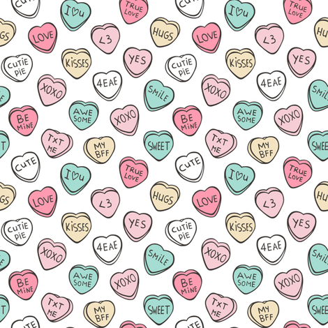Conversation Candy Hearts Valentine Love  Tiny Small fabric by caja_design on Spoonflower - custom fabric