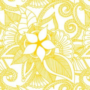 Yoga Indian henna design Sunshine Yellow