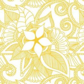 Yoga Indian henna design yellow