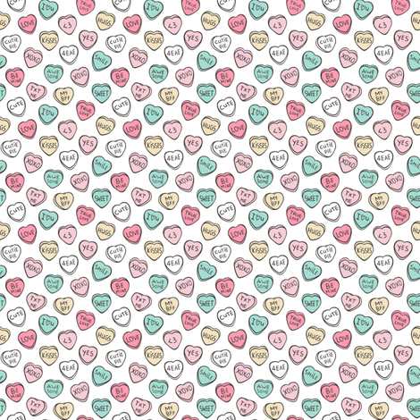 Conversation Candy Hearts Valentine Love  Very Tiny Small fabric by caja_design on Spoonflower - custom fabric