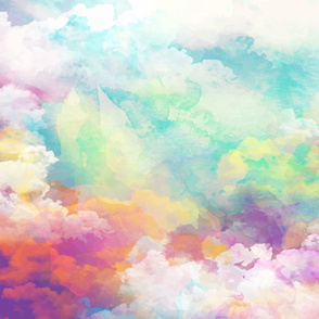 Watercolor pastel clouds